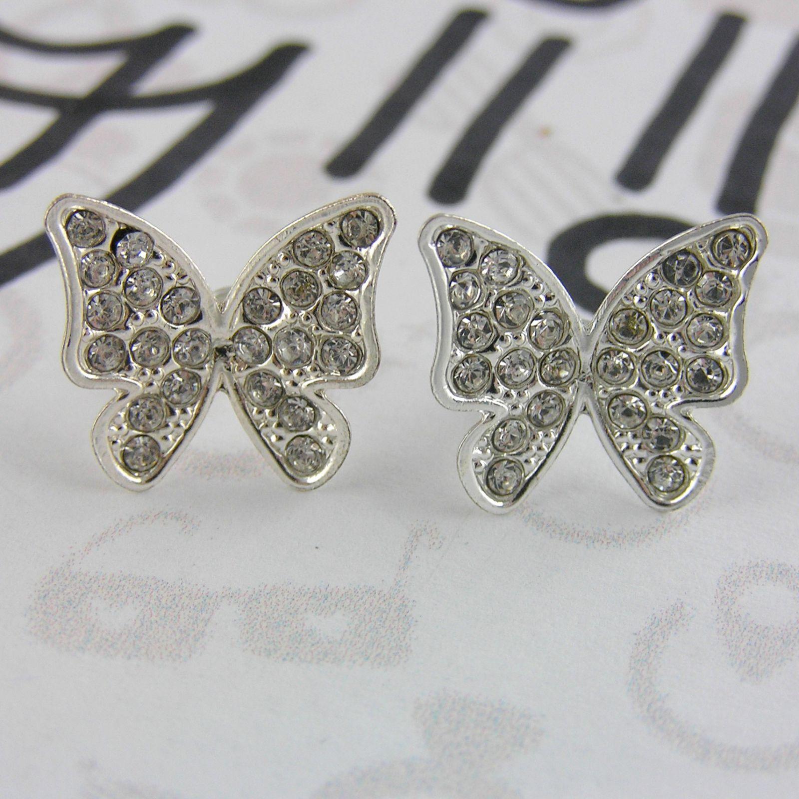 Náušnice s kamínkovými motýlkami GIIL