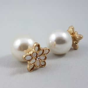 Náušnice zlatobílé kytičky s perličkou