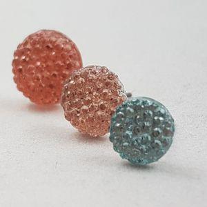 Růžové a modré kamínkové náušnice