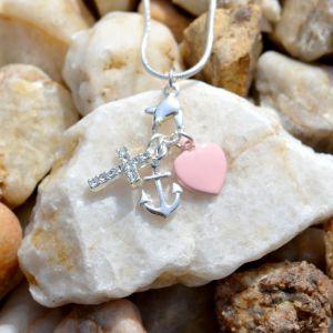 Růžový náhrdelník s přívěšky SRDCE, KOTVY, KŘÍŽKU