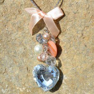 Růžový náhrdelník s velkým SRDCEM 1