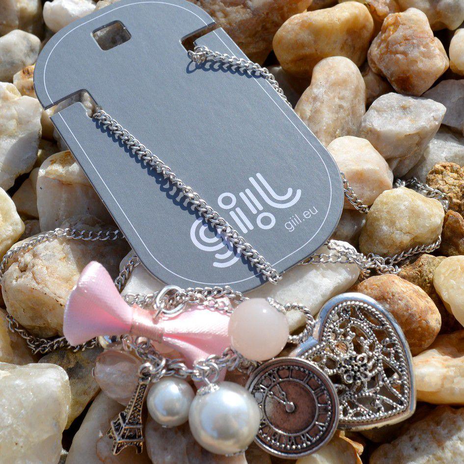 Růžový náhrdelník SRDCE, EIFFELOVKA GIIL
