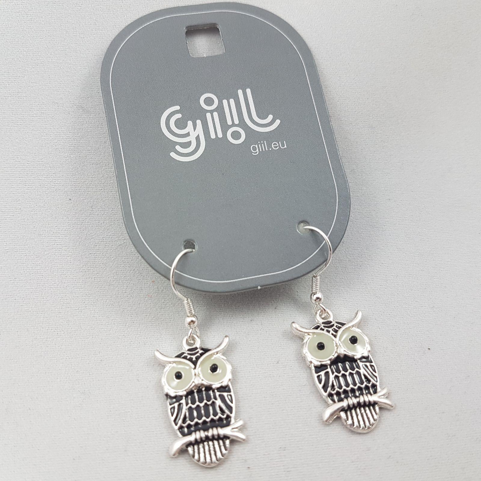 Stříbrné náušnice Černé sovičky GIIL