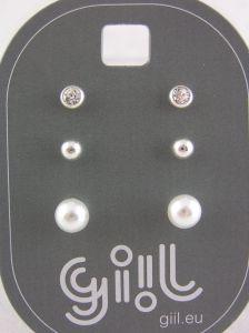 Tři páry náušnic s malými perličkami