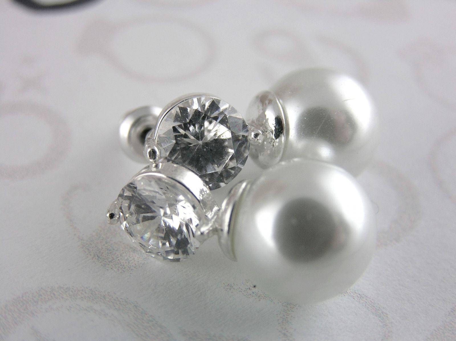 Zirkonové náušnice Lesklé kamínky s perličkou GIIL