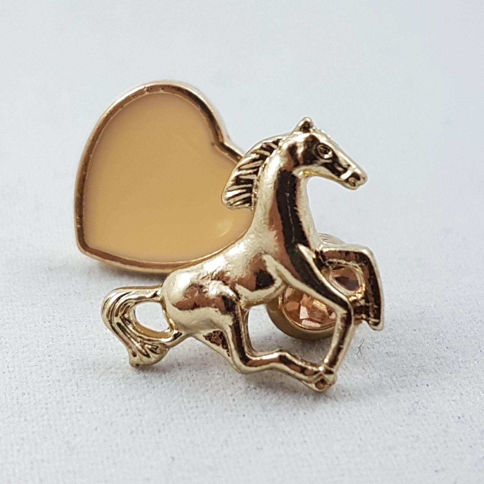Zlaté náušnice koně, srdíčka a kamínky GIIL