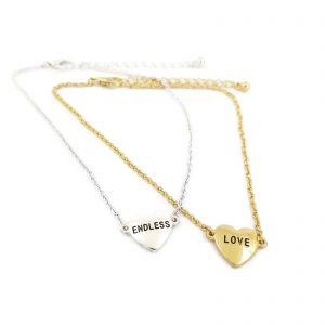2x náramek NA NOHU (stříbrné a zlaté srdce)