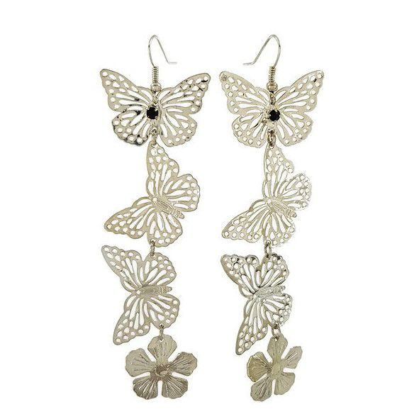 Visací stříbrné náušnice motýl s kamínkem černá GIIL