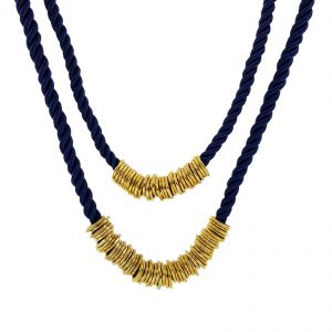 Modrý provazový náhrdelník s kruhy