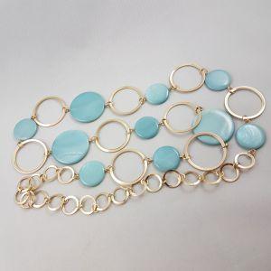 Náhrdelník Zlaté kruhy modrý