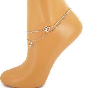 Náramek na nohu čtyřlístek,klíč,kamínek GIIL