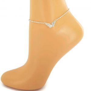 Stříbrný náramek na nohu s motýlem GIIL