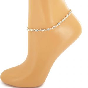 Náramek na nohu s malými kamínky a kytičkou GIIL