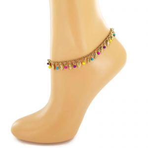 Náramek na nohu se zlatavými listy