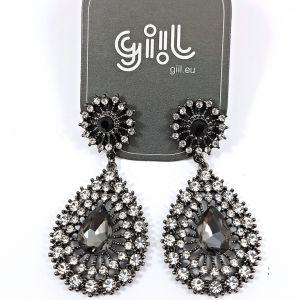 Náušnice s čirými a černými kamínky GIIL