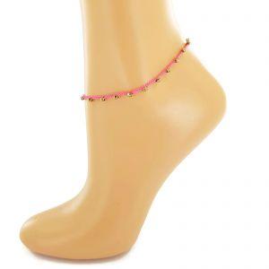 Růžový provázek na nohu s kamínky GIIL