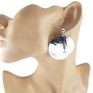 Stříbrné visací kruhové náušnice tepané placky GIIL