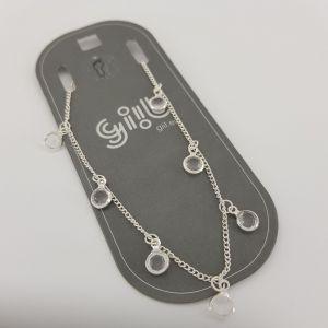 Stříbrný náramek na nohu s kamínky