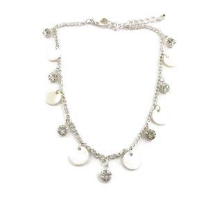 Stříbrný náramek NA NOHU s kamínky a perletí