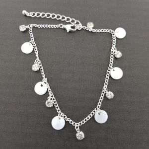 Stříbrný náramek NA NOHU s kamínky a perletí GIIL