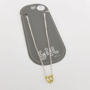 Stříbrný náramek se zlatým PEACE NA NOHU GIIL