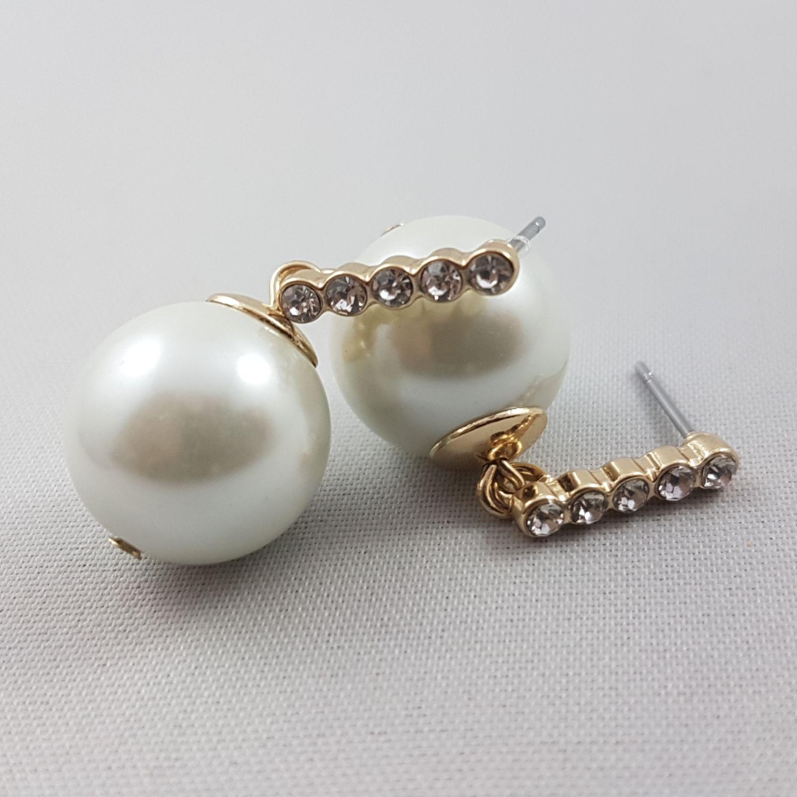 Visací zlaté náušnice s perličkou a kamínky