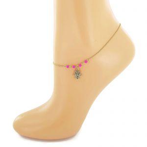 Zlatavý náramek na nohu se symbolem ruka Fatimy