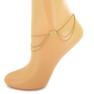 Zlatavý náramek na nohu s květy GIIL