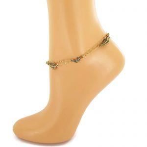 Zlatavý náramek NA NOHU s peříčky GIIL