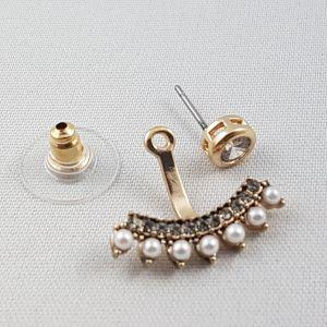 Zlaté náušnice s kamínky a perličkami