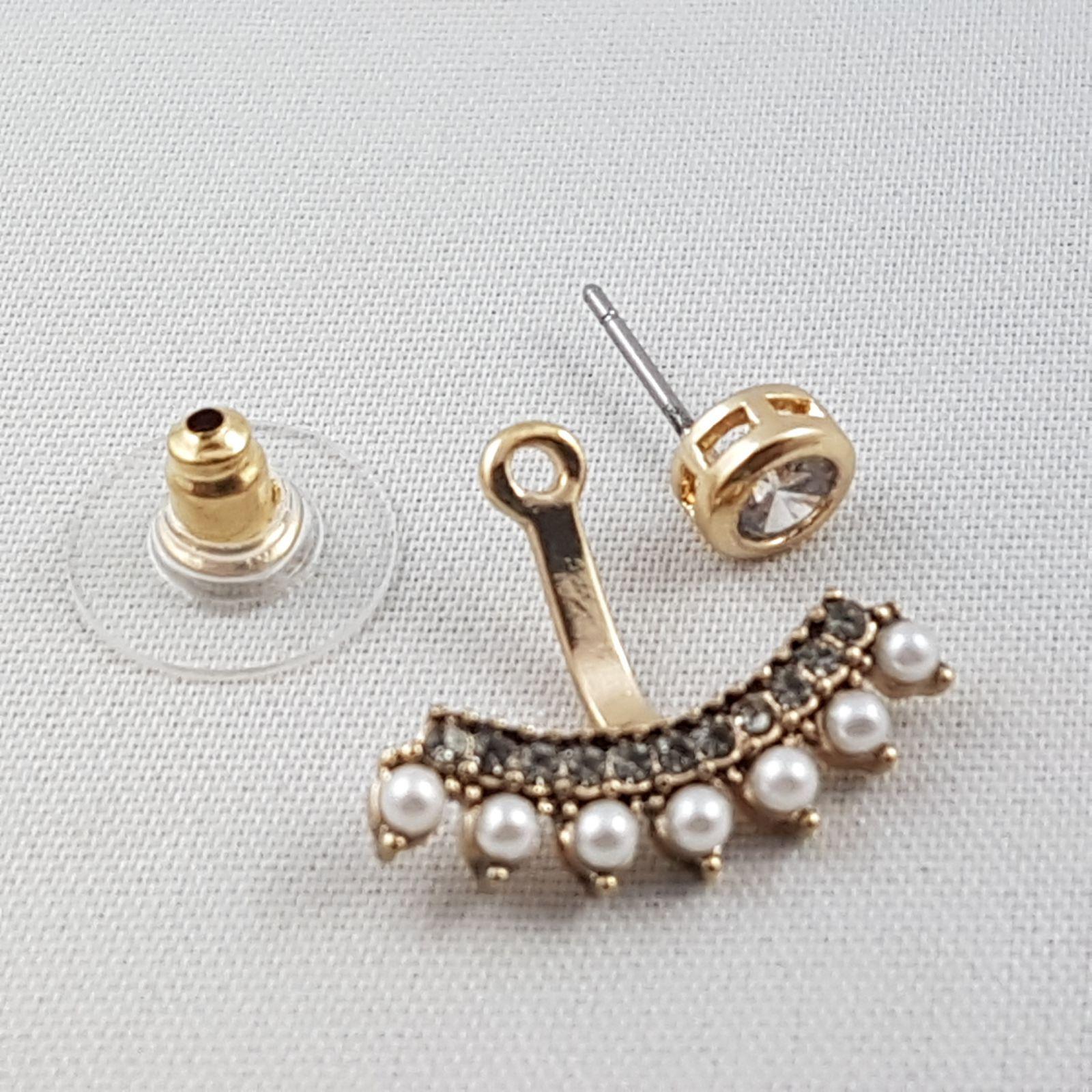e22328015 Zlaté náušnice s kamínky a perličkami GIIL