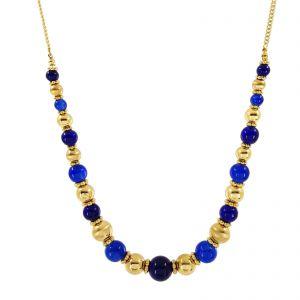 Zlatý dlouhý náhrdelník s kuličkami