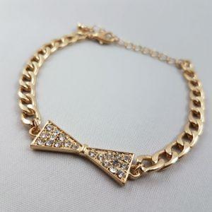 Zlatý náramek střední řetěz s mašlí