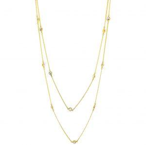 Dvojitý zlatý náhrdelník s kamínky