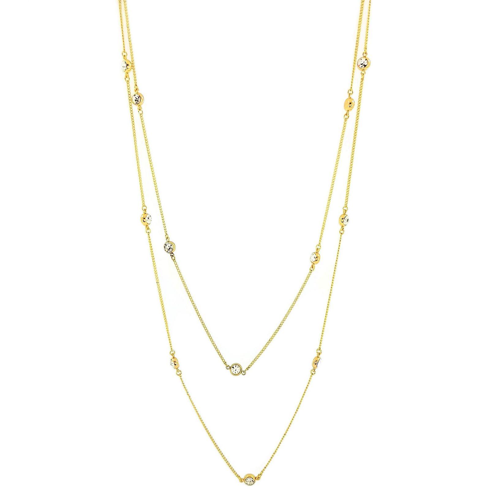 Dvojitý zlatý náhrdelník s kamínky GIIL