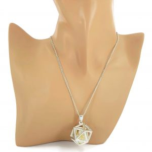Dlouhý stříbrný náhrdelník hlavolam s perlami GIIL