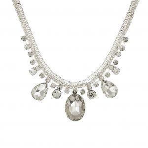 Lesklý stříbrný náhrdelník s kamínky