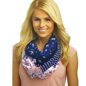 Modro-růžový šátek PTÁČCI, KYTIČKY