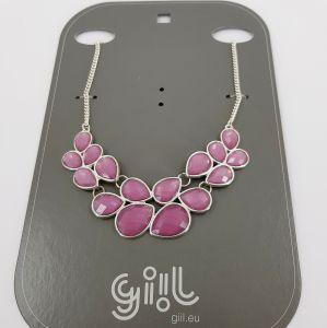 Náhrdelník s růžovými kamínky do tvaru kapek GIIL