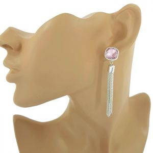 Stříbrné náušnice růžový kamínek a řetízky GIIL