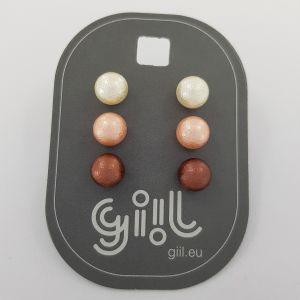 Sada tří barevných náušnic perliček GIIL