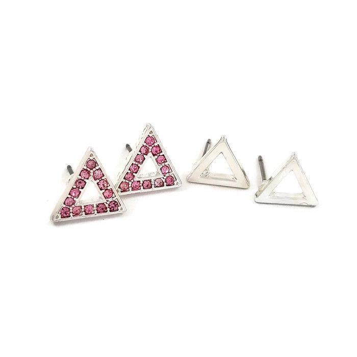Sada stříbrných náušnic tvaru trojúhelníku s kamínky GIIL