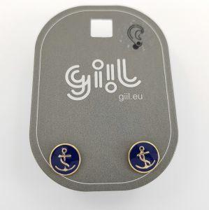 Peckové náušnice placka s motivem kotvy GIIL