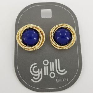 Peckové náušnice s modrou polokoulí a zlatým věncem GIIL