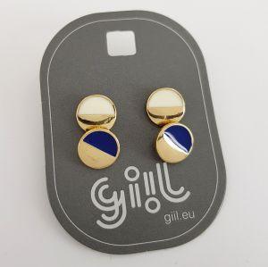 Sada náušnic ve tvaru placiček modrých a bílých GIIL