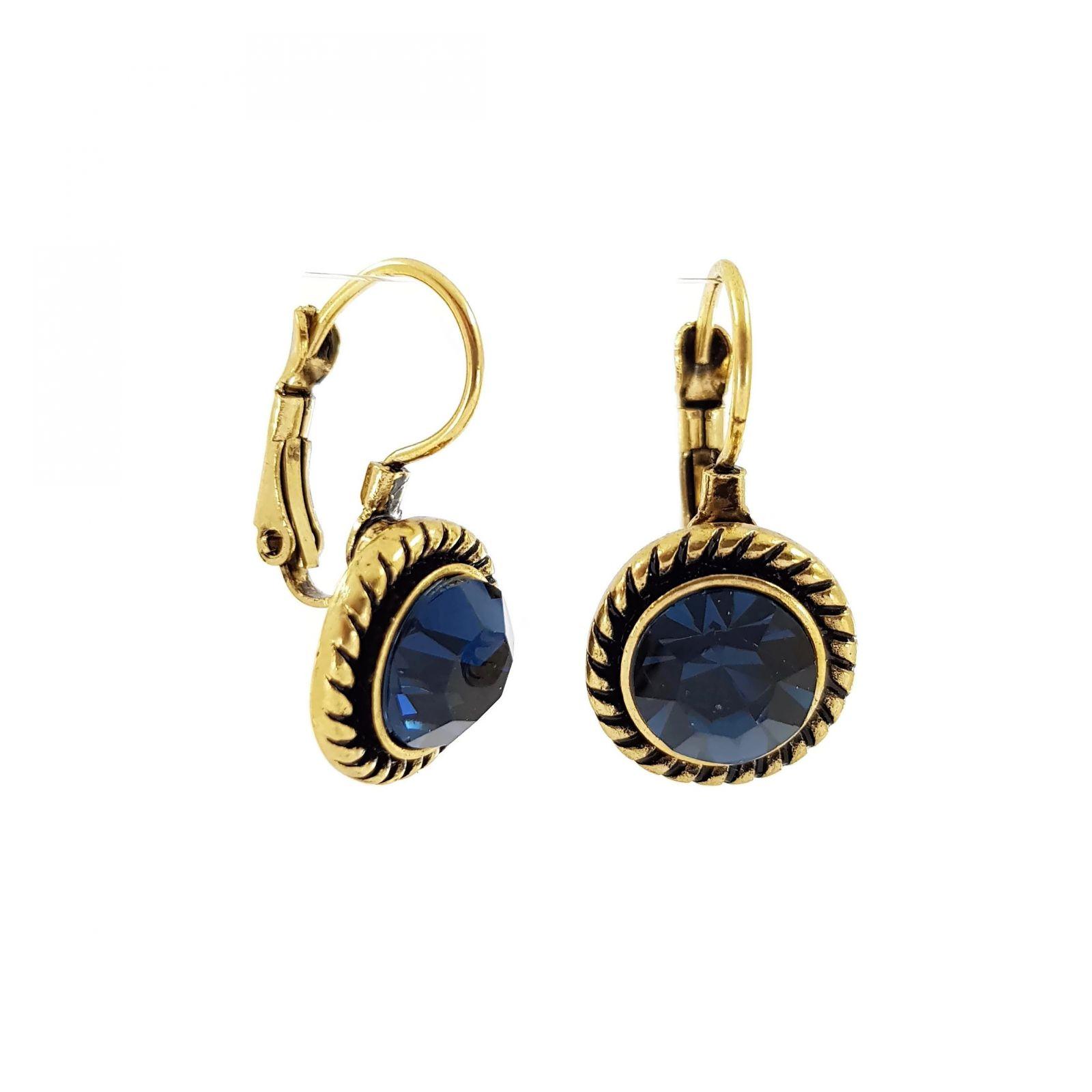 Náušnice Dva páry s modrými a bílými kamínky