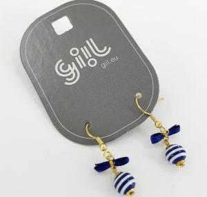 Náušnice Malé modrobílé kuličky s mašličkami GIIL