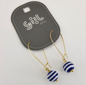 Náušnice Modrobílé kuličky se zlatým zapíníním GIIL
