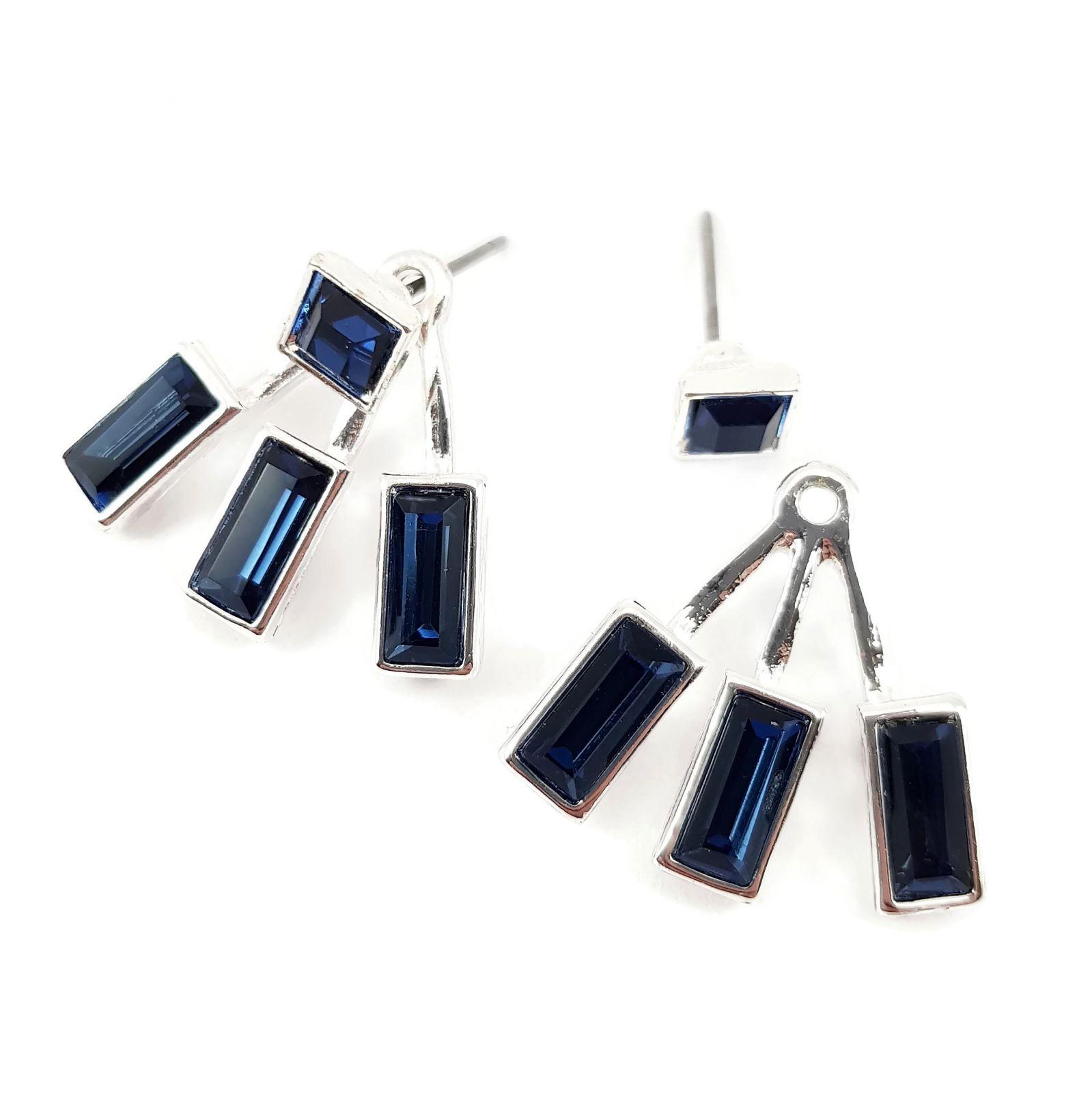 Náušnice s modrými kamínky 2 v1 GIIL