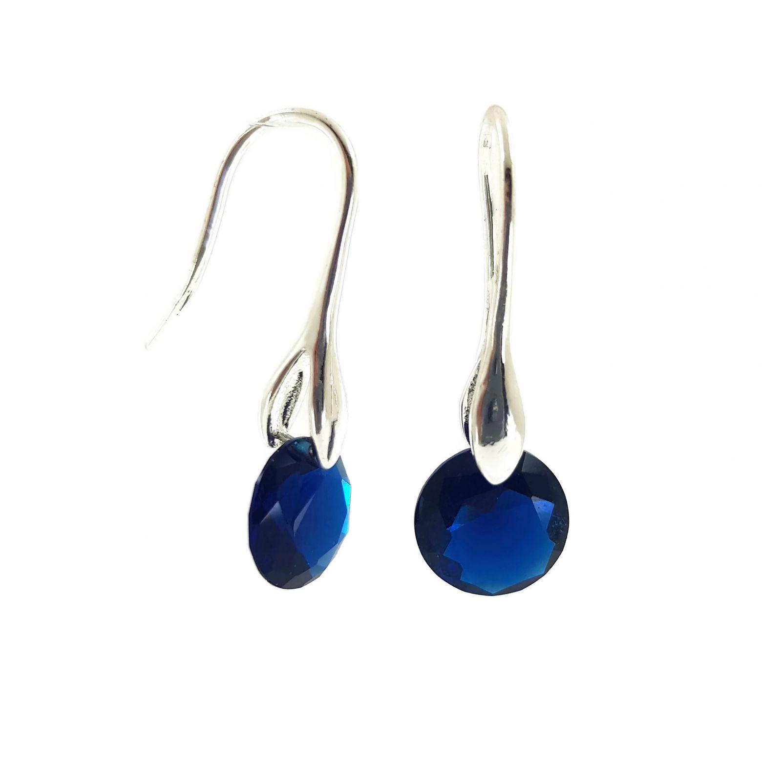 Náušnice s tmavě modrým malým broušeným kamínkem GIIL